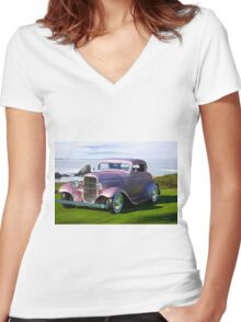 1932 Ford 'Lilac' Coupe Women's Fitted V-Neck T-Shirt