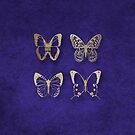 Gold Butterflies on Blue by Catherine Hamilton-Veal  ©