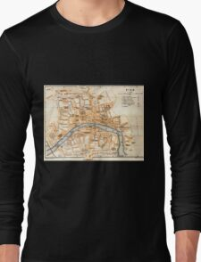 Vintage Map of Pisa Italy (1913) Long Sleeve T-Shirt