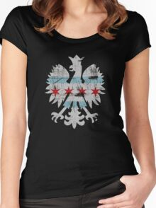 Vintage Chicago Flag Polish Crest Eagle Vintage Women's Fitted Scoop T-Shirt