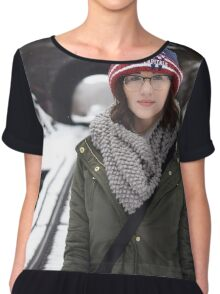 Very cute girl wearing glasses Chiffon Top