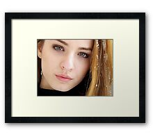 Glamour woman smiling portrait outdoors girl blonde  Framed Print