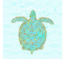 Tucker Turtle, swimming sea turtle coastal art Photographic Print