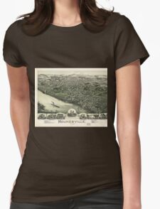 Aerial View of Moundsville, West Virginia (1899) Womens Fitted T-Shirt