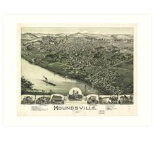 Aerial View of Moundsville, West Virginia (1899) Art Print