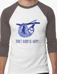 Cute Sloth dont hurry be happy Men's Baseball ¾ T-Shirt