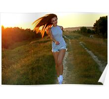 woman having fun with sunset Poster
