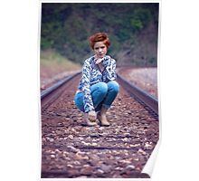 woman sitting in the path of the train Poster