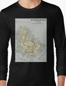 Vintage Map of Barbados (1901) Long Sleeve T-Shirt