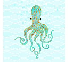 Olivia Octopus swimming ocean waves coastal art Photographic Print