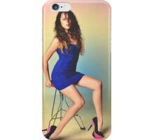 Girl sitting on a chair with a colored background iPhone Case/Skin