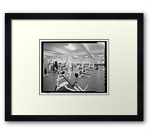 Black and White Weight Room Photograph Framed Print