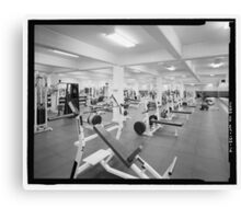 Black and White Weight Room Photograph Canvas Print
