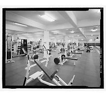 Black and White Weight Room Photograph Photographic Print