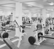 Black and White Weight Room Photograph Sticker