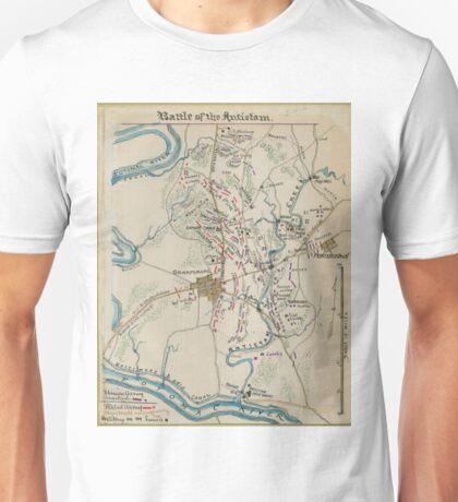 Vintage Map of Antietam Battlefield (1865)  Unisex T-Shirt