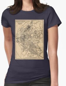 Vintage Battle of Bull Run Map (1886) Womens Fitted T-Shirt
