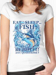 Fishing T-Shirt Eat Sleep Fish Repeat Women's Fitted Scoop T-Shirt