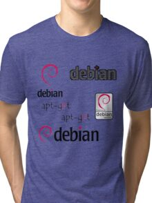 debian operating system linux sticker set Tri-blend T-Shirt