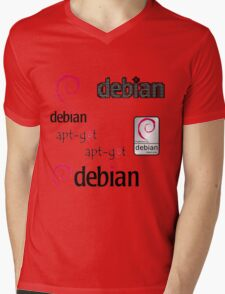 debian operating system linux sticker set Mens V-Neck T-Shirt