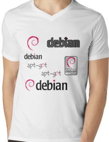debian operating system linux sticker set Mens V-Neck T-Shirt