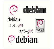 debian operating system linux sticker set Art Print