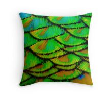 Peacock feather armour Throw Pillow