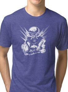 B&W metal skull with cartoon engine Tri-blend T-Shirt