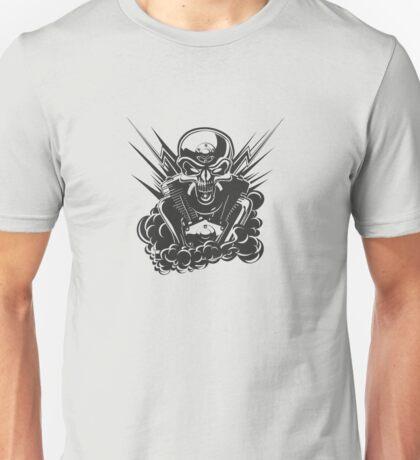 B&W metal skull with cartoon engine Unisex T-Shirt