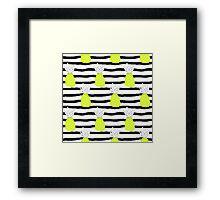 Crazy pineapple on black&white stripes Framed Print