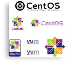 centos operating system linux sticker set Canvas Print