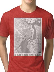 Jacksonville Map Line Tri-blend T-Shirt