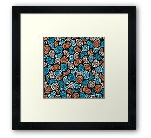 Abstract doodle seamless pattern. Simple retro blue and orange background. Framed Print