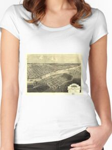 Vintage Map of Bay City Michigan (1867) Women's Fitted Scoop T-Shirt