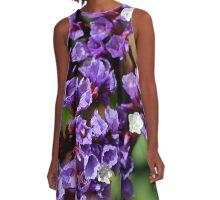 Purple Flowers A-Line Dress
