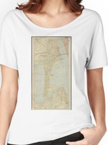 Vintage Map of Bayonne NJ (1912) Women's Relaxed Fit T-Shirt