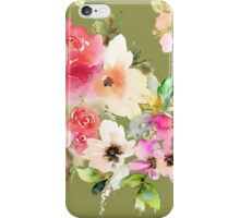 Watercolor flowers olive background iPhone Case/Skin
