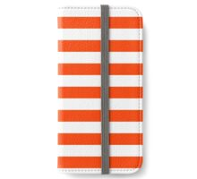 Fluorescent Attack Orange Neon and White Large Horizontal Cabana Tent Stripe iPhone Wallet/Case/Skin