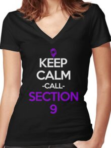 Keep Calm And Call Section 9 Anime Manga Shirt Women's Fitted V-Neck T-Shirt