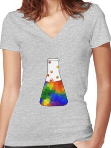 Rainbow Erlenmeyer Women's Fitted V-Neck T-Shirt
