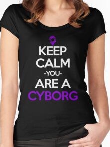 Keep Calm You Are A Cyborg Anime Manga Shirt Women's Fitted Scoop T-Shirt