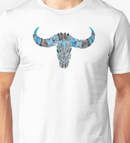 Water Buffalo Skull – Black & Blue Unisex T-Shirt