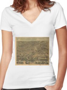 Vintage Pictorial Map of Akron Ohio (1870) Women's Fitted V-Neck T-Shirt