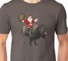 Santa Riding A Bison Unisex T-Shirt