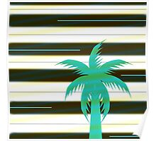 Palm tree on stripes Poster