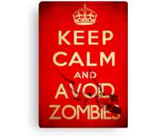 Keep calm and avoid zombies (vintage) Canvas Print