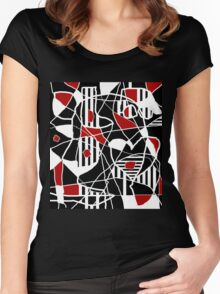 Red, black and white abstraction Women's Fitted Scoop T-Shirt