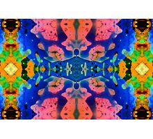 Pink Blue Psychedelic Pattern Photographic Print