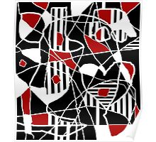 Red, black and white abstraction Poster