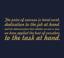 """The price of success... """"Vince Lombardi"""" Success Quote One Piece - Short Sleeve"""